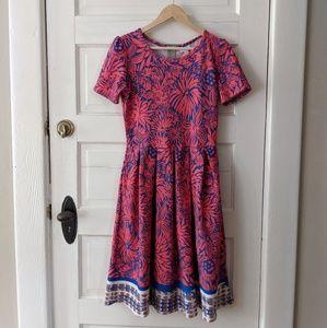Lularoe pink blue floral Amelia dress medium